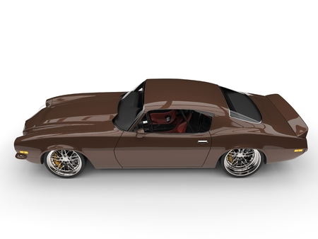 Classic brown American vintage car - top down side view Stock Photo