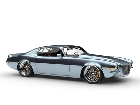 Shimmering metallic blue American vintage car