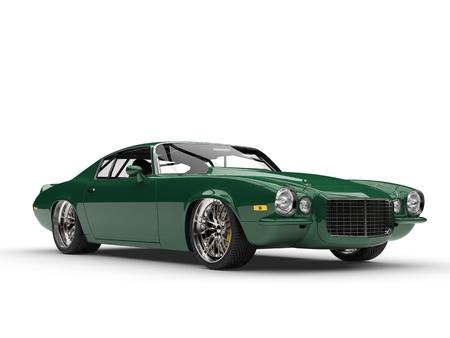 Emerald green classic vintage American car - beauty shot 스톡 콘텐츠