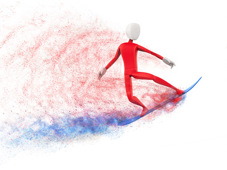 Red snowboarder with blue snowboard - mid jump - particle FX
