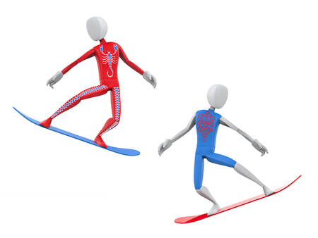 Red and blue snowboarders caught mid jump Stock Photo