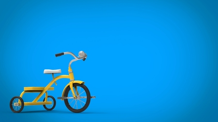 Vintage yellow pretty tricycle - blue background
