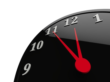 Classic black shiny clock with red dials - almost midnight Stock Photo