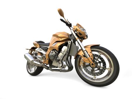 Superb golden modern bike - wide angle shot