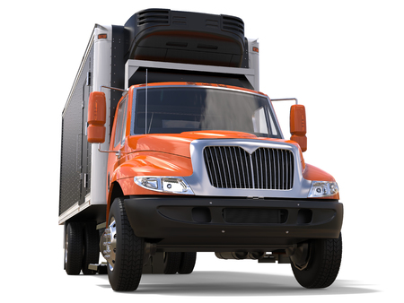 Orange cargo refrigerator truck with black trailer