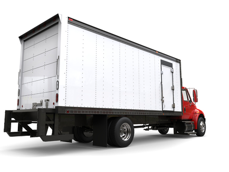Red refrigerator truck - back view Stock Photo