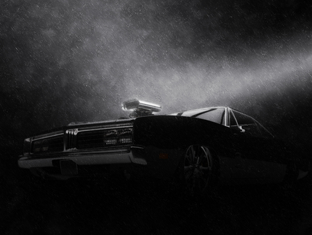 Awesome Black Vintage Muscle Car In The Rain Night Shot Stock
