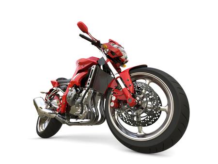 Scarlet red modern sports motorcycle - epic closeup