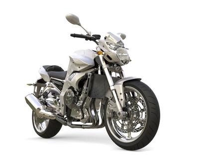 Super silver modern sports bike