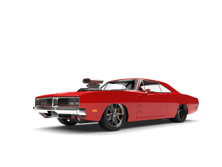 Crimson red American vintage muscle car Banque d'images