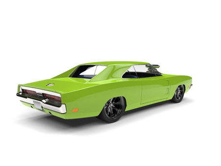 Bright green American vintage muscle car - tail view