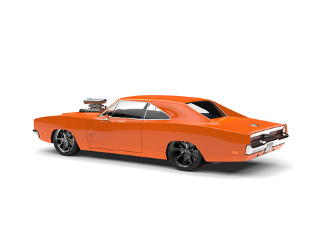 Vintage orange American muscle car - rear side view Stock Photo