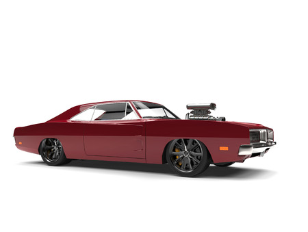 Burgundy vintage American muscle car - beauty shot