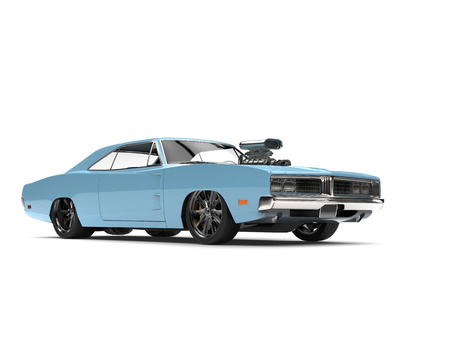 Ice blue vintage American muscle car