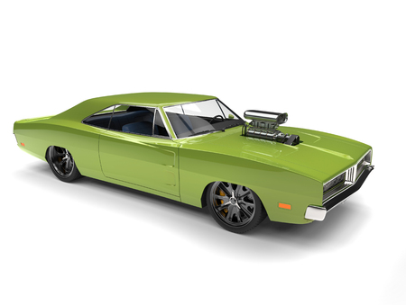 Bright green vintage American muscle car with huge engine block