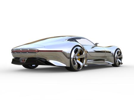 Awesome metallic modern super sports car - back view Stock Photo