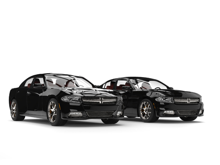 Modern black fast cars - side by side Stock Photo