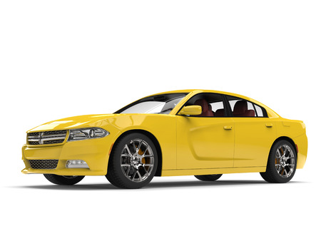 Cyber yellow modern fast city car