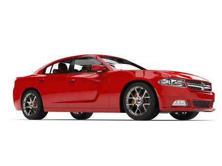 Beautiful red modern city sports car - beauty shot Stock Photo