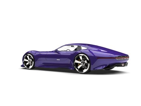 Midnight purple modern super sports car - tail side view
