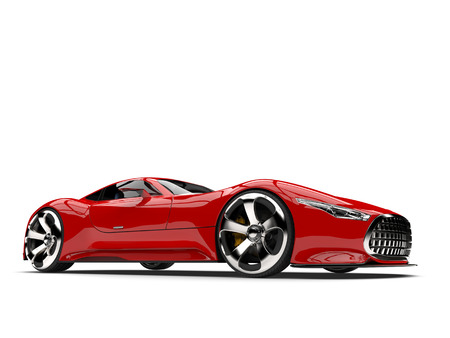 Fire red modern super sports car - low angle shot Stock Photo