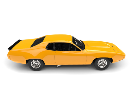 Bright amber yellow vintage race car - top down side view Stock Photo