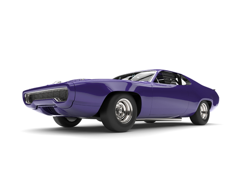 Violet vintage race car - low angle shot
