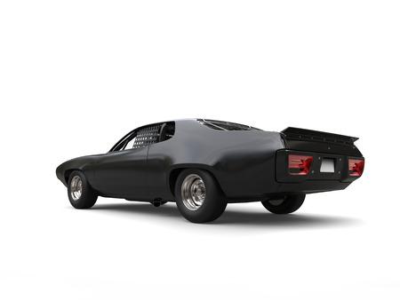 Beautiful tough black vintage race car - rear view