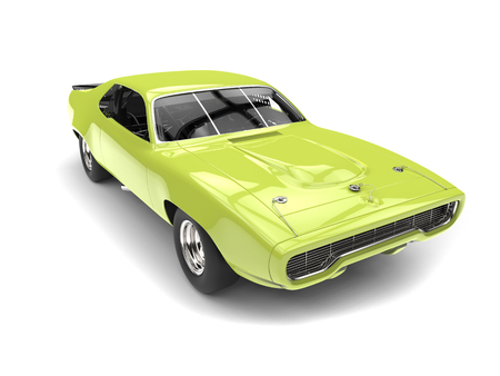 Front view of bright mad green vintage race car with hood
