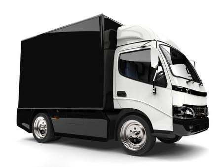 Black and white small box truck Stock Photo