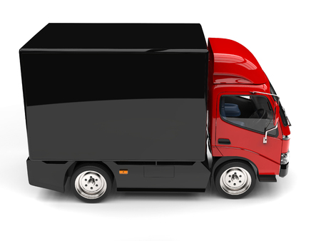 Red box truck with black trailer - top down side view