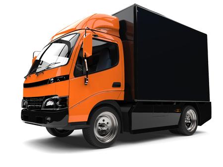 Orange small box truck with black trailer