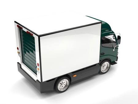 Dark green small box truck - top down view