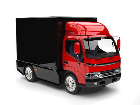 Small red and black box truck