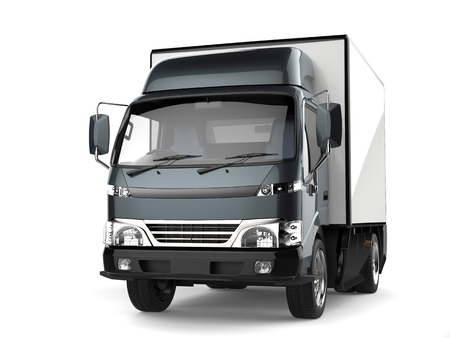 Metallic slate gray small box truck Stock Photo - 94988342