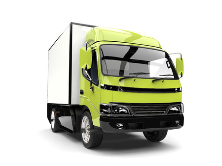 Bright mad green small box truck Stock Photo