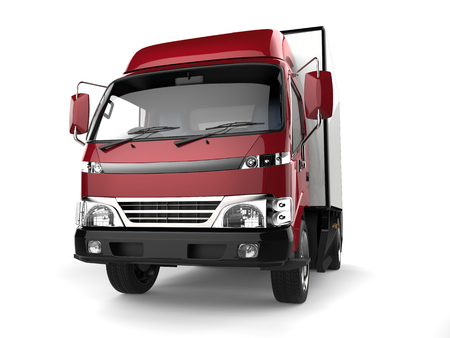 Metallic red small box truck - closeup shot