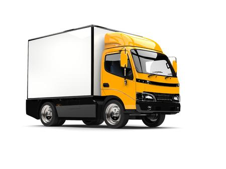 Bright yellow small box truck Stock Photo