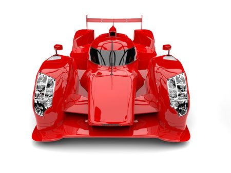 Scarlet red racing super car - front top down view