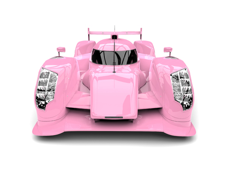 Candy pink modern super race car - front view closeup shot