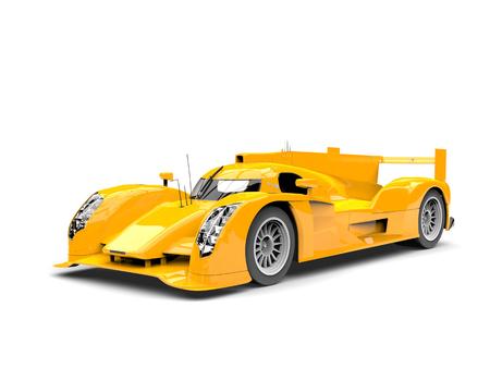 Amber yellow modern super race car - beauty shot