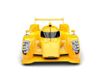 Amber yellow modern super race car - top down front view