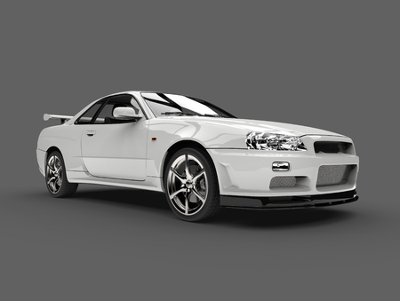Milk white urban sports car - beauty shot