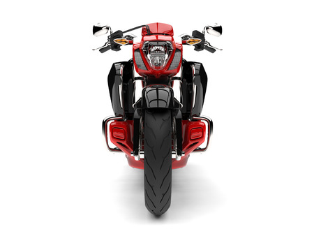 Raging red modern chopper motorcycle - front view Stock Photo