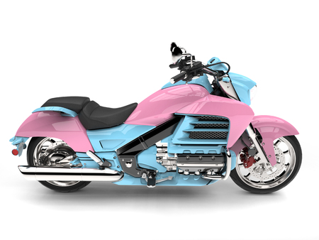 Candy colored powerful chopper bike - top down side view Stok Fotoğraf