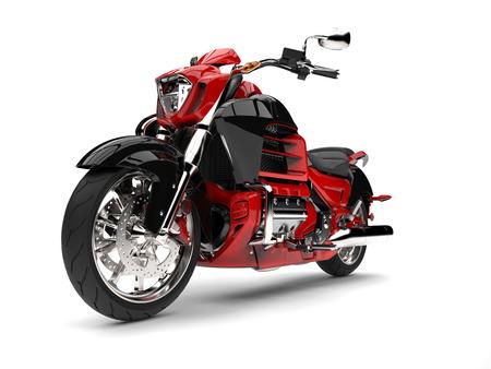 Raging red modern chopper motorcycle - epic shot