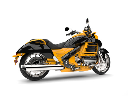 Sun yellow modern chopper motorcycle - side view Stock Photo