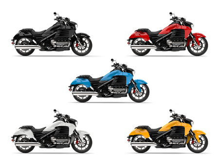 Set of modern chopper bikes in all base colors Stock Photo