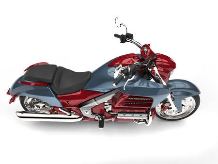 Metallic red and blue modern chopper bike - top down side view Stok Fotoğraf