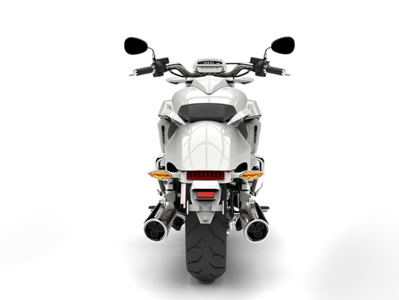 Cool white powerful motorcycle - back view Stock Photo